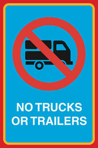 No Trucks Or Trailers Print Driveway Street Road Business Notice Sign 6 Pack