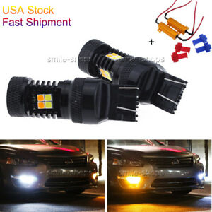 2 X 7443 7444na Smd Dual Color White Amber Switchback Led Turn Signal Light Drl