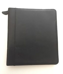 Franklin Quest Covey Portfolio Binder Zippered Card Holder Top Grain Leather Blk