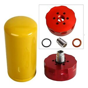 Fit 2001 2016 Gm Duramax Diesel 6 6l Cat Fuel Filter Adapter Kit Red