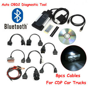 Car Truck Bluetooth Tcs Cdp Pro Plus 4 Autocom Obd2 Diagnostic Tools 8pc Cables