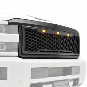 15 18 Chevy Silverado 2500 3500 Grille Raptor Style Black Abs W Amber Led Light