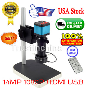 14mp 1080p Hdmi Usb Digital Industry Video Microscope Set Camera C mount Len Dvr