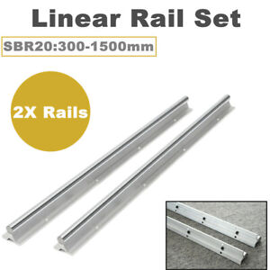 2pcs Sbr20 300 1500mm Linear Rail Shaft Rod Fully Supported Guide Set For Cnc
