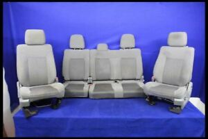 2011 2014 Ford F150 Pickup Truck Crew Cab Cloth Front Rear Seats Gray