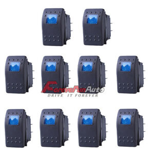 10 X 4 Pin Marine Boat Car Rocker Toggle Switch Spst On off Blue Led Light 12v