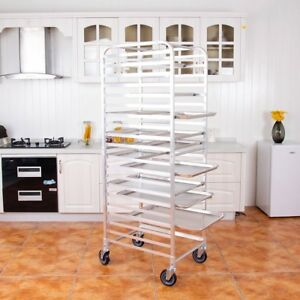 26 x20 x70 20 Sheet Aluminum Pan Rolling Cart Bakery Rack Storage Shelf Mount