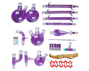 31pc Lab Essential Oil Distillation Organic Apparatus Glassware graham Condenser