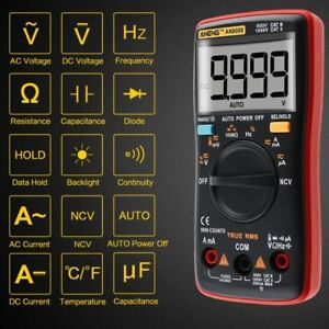 Multimeter Ac Dc Digital An8009 Aneng Rms Meter True Voltage Range Auto Ammeter