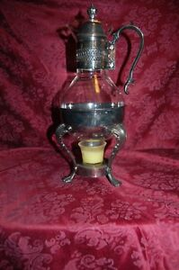 Silverplate Coffee Or Tea Carafe Coffee Vintage Silverplated Glass With Warmer