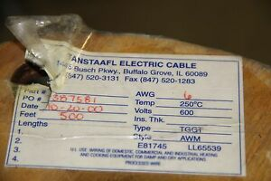 Wire High Temp 10 Feet 6 Tggt Awg Glass Nos