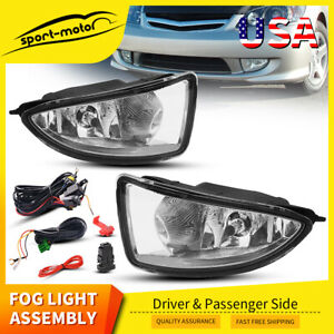 For 2004 2005 Honda Civic Jdm Clear Bumper Fog Lights Lamps W Wiring Switch Pair