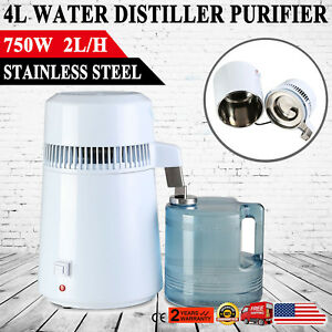 750w 4l Pure Water Distiller All Stainless Steel Interior Distilled Filter Usa