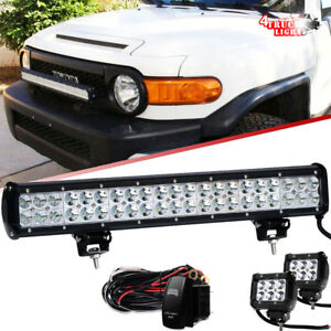 Fit Toyota 4runner Tacoma 20inch Led Light Bull Bar Combo Beam Rav4 2x 18w Pods