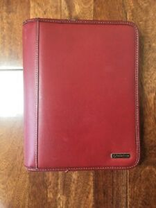 Franklin Covey Planner Classic Size Red Leather Zipper Agenda W Ruler Notebook