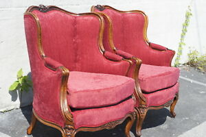 Pair Of Walnut Louis Xv French Arm Chairs 1920 S Newly Upholstered