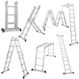 12 5ft En131 Aluminum Folding Multi Purpose Step Scaffold Ladder Stepladder Tool