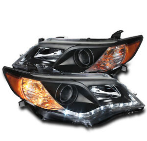 Toyota 2012 2013 2014 Camry Le Se Xle Hybrid Drl Led Projector Head Lights Black