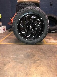 22x10 D574 Fuel Cleaver Black Wheel Tire Package 35 Fuel Mt 6x135 Ford F150