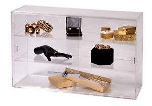 2 shelf Acrylic Countertop Display Case comes With Lock Key