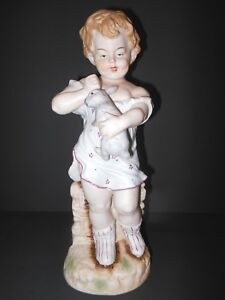 Vintage French Bisque Porcelain Piano Figurine Baby Boy With Rabbit