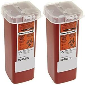 Pack Of 2 Sharps Container Biohazard Needle Disposal 1 Quart New