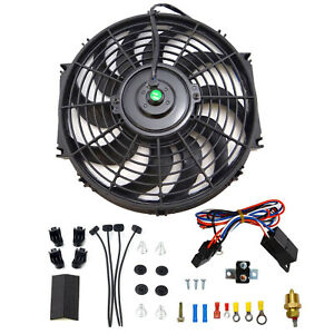 12 electric Cooling Fan Bk 12 Volt Push in Radiator Fin Probe Thermostat Kit