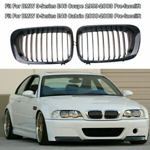 2pcs Gloss Black Front Kidney Grille Grill For Bmw 3 Series E46 M3 Coupe 00 07