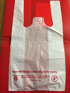 Sm White Plastic Shopping Bag For Retail Store Grocery Etc Size 8 15 1500pcs