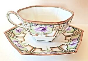 Nippon Cup Saucer Violet Flowers Hand Painted Gold Lavender Raised Accents Flaws