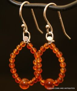 Ancient Roman Egyptian Carnelian Stone Beads Earrings 1st 2nd Century A D