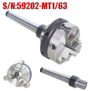 3 Jaw Mini Lathe Chuck 63mm Diameter Self Centering With Mt1 Mounting Shank Cnc