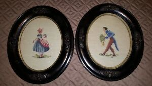 Two Antique Victorian Needlepoint Embroidery Boy Girl Antique Oval Wood Frame