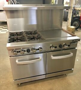 New 4 Burner Range 24 Griddle Flat Grill 48 Commercial Stove Gas Double Oven
