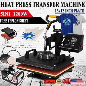 5 In 1 Heat Press Machine For T shirts 12 x15 Combo Kit Sublimation Swing Away