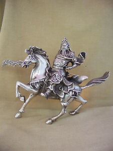 Vintage Sculpture Chinese Warrior Riding A Horse With A Pike Old