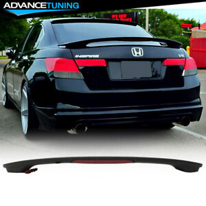 Fits 08 12 Honda Accord 8th Sedan Oe Factory Matte Black Trunk Spoiler Led Brake