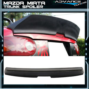 90 97 Mazda Miata Ikon Style High Kick Duckbill Trunk Spoiler Lip Primer Black