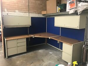 Steelcase L Shaped Desk W Filing Cabinets Hutches And Blue Canvas Back Panel