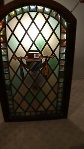 Stained Glass Pannel With Mahogony Frame 27w X 48h 800 00