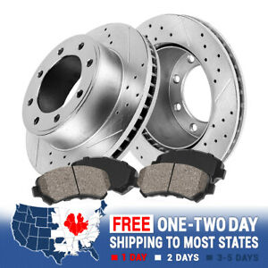For 95 99 Ford F250 95 97 F350 Front Drill Slot Brake Rotors Ceramic Pads