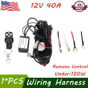 12v 40a Remote Control Wiring Harness Kit Strobe Switch Relay Drl Led Light Bar