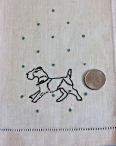 Vintage Never Used Linen Embroidered Dog Hand Towel C1930s 1940s 20 Lx14 W