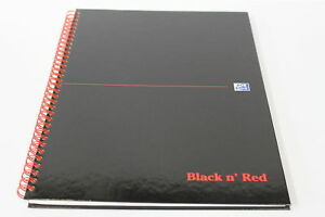 A4 Black N Red Ruled perforated Notebook Spiral Bound 140 Pages 90gsm Paper