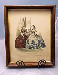 Victorian Shadowbox Frame With French Fashion Print Hand Colored