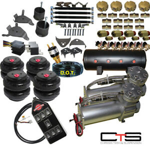 Chevy S10 Air Kit Dual Compressor 25 26 Bags 1 2 Valves 3 gal Tank7 Switch