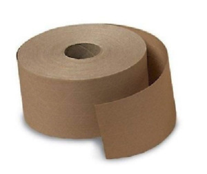 2 Rolls 2 75in 70mm X 375 Ft Reinforced Gummed Kraft Paper Tape Water Activated