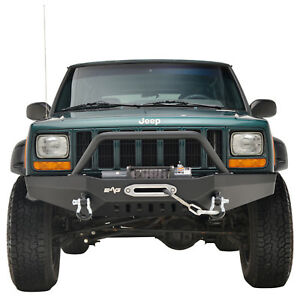 84 01 Jeep Cherokee Xj Front Bumper Rock Crawler With Winch Plate Black Textured
