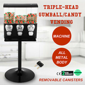 Triple Bulk Candy Vending Machine 3 Head W 3 Canisters With Keys Black