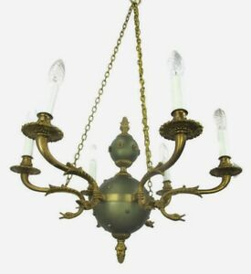 French Empire Pan Chandelier Green Tole Brass 6 Arms Hollywood Regency Ducks Htf